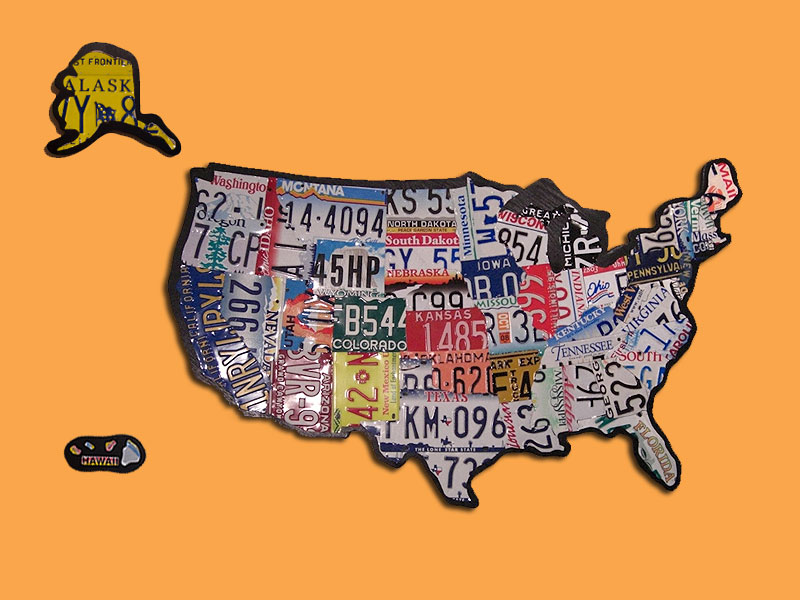Large Floating U.S. License Plate Map